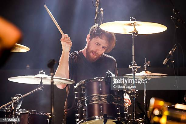 Musician Dan Platzman of Imagine Dragons performs at their 'Smoke Mirrors' North American tour announcement at The Mayan on February 5 2015 in Los...