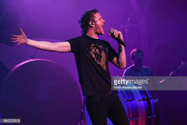 Musician Dan Reynolds of Imagine Dragons performs onstage at The Wiltern on March 20 2013 in Los Angeles California