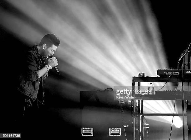 Musician Dan Smith of Bastille performs onstage during 1067 KROQ Almost Acoustic Christmas 2015 at The Forum on December 12 2015 in Los Angeles...