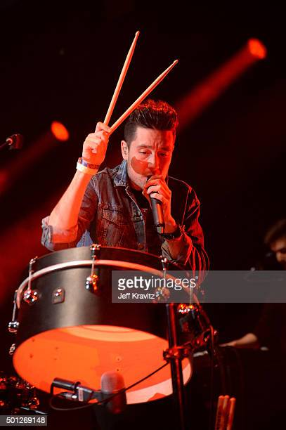 Musician Dan Smith of Bastille performs onstage during 1067 KROQ Almost Acoustic Christmas 2015 at The Forum on December 12 2015 in Inglewood...