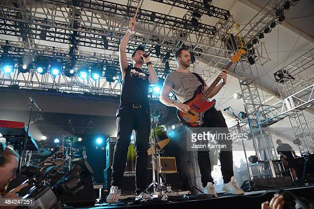 Musician Dan Smith of Bastille performs onstage during day 1 of the 2014 Coachella Valley Music Arts Festival at the Empire Polo Club on April 11...