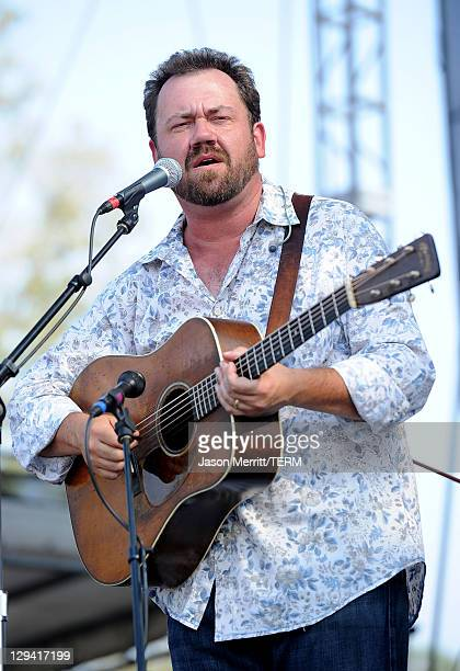 Musician Dan Tyminski of Alison Krauss Union Station featuring Jerry Douglas perform on stage during Bonnaroo 2011 at Which Stage on June 11 2011 in...