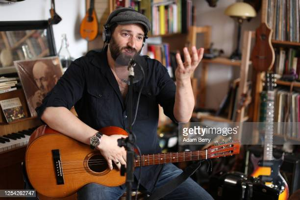 Musician Daniel Kahn livestreams his performance from his apartment as his contribution to the JetLag festival on July 04, 2020 in Berlin, Germany....