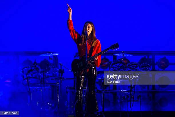 Musician Danielle Haim of Haim performs onstage at WaMu Theater on April 4 2018 in Seattle Washington