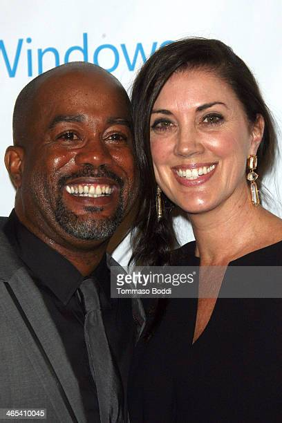 Musician Darius Rucker and Beth Leonard attend the Universal Music Group 2014 post GRAMMY party held at The Ace Hotel Theater on January 26 2014 in...