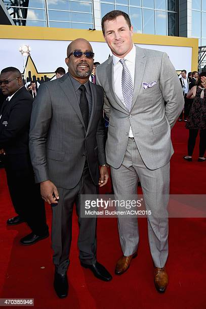 Musician Darius Rucker and Jason Witten of the Dallas Cowboys attend the 50th Academy of Country Music Awards at ATT Stadium on April 19 2015 in...