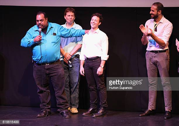 Musician Daryl Davis actor Scott Shepard producer producer Noah Ornstein and producer Roberto Alcantara speak onstage at the premiere of Accidental...