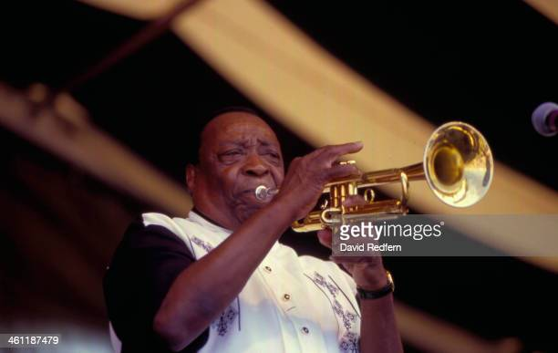 Musician Dave Bartholomew on stage at New Orleans Jazz Festival, 1999.