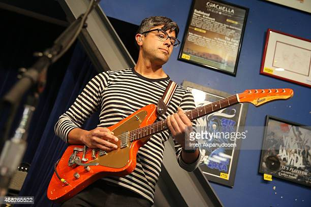 Musician Dave Depper of Death Cab for Cutie performs onstage for the release of their new album 'Kintsugi' at Amoeba Music on March 31 2015 in...