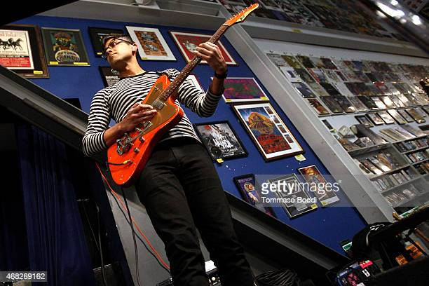 Musician Dave Depper of Death Cab For Cutie perorms at Amoeba Music for the release of their new album 'Kintsugi' held at Amoeba Music on March 31...