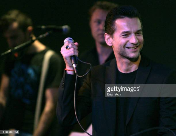 Musician Dave Gahan lead singer of the group Depeche Mode performs at the Apple Store Soho on October 23 in New York City