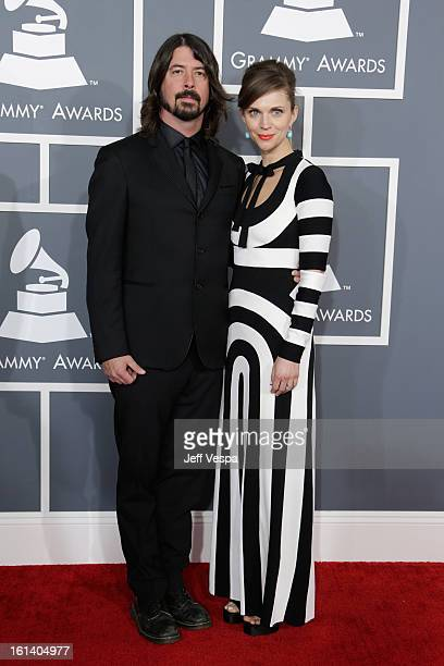 Musician Dave Grohl and Jordyn Blum attend the 55th Annual GRAMMY Awards at STAPLES Center on February 10 2013 in Los Angeles California
