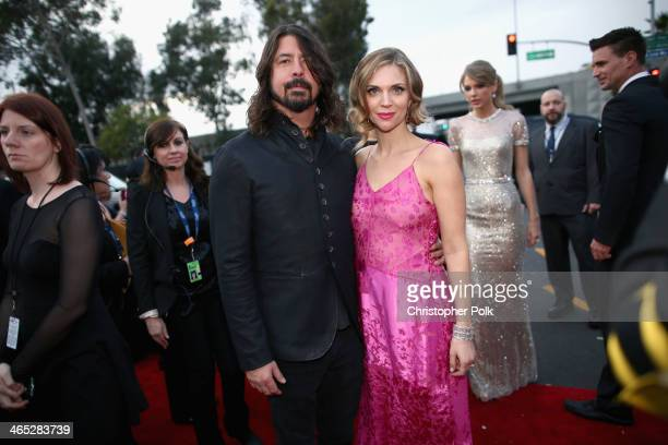 Musician Dave Grohl and Jordyn Blum attend the 56th GRAMMY Awards at Staples Center on January 26 2014 in Los Angeles California