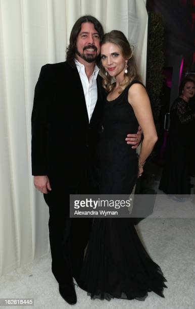 Musician Dave Grohl and Jordyn Blum Grohl attend Grey Goose at 21st Annual Elton John AIDS Foundation Academy Awards Viewing Party at West Hollywood...