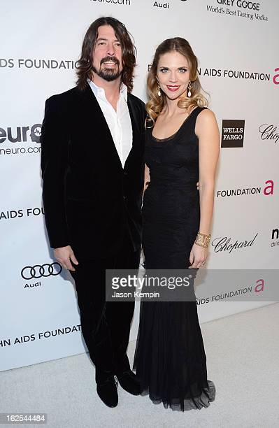 Musician Dave Grohl and Jordyn Grohl attend the 21st Annual Elton John AIDS Foundation Academy Awards Viewing Party at West Hollywood Park on...