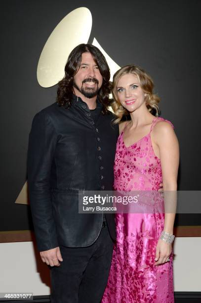 Musician Dave Grohl and model Jordyn Blum attend the 56th GRAMMY Awards at Staples Center on January 26 2014 in Los Angeles California