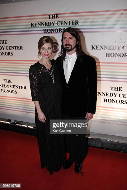 Musician Dave Grohl and wife Jordyn Blum arrive at the Kennedy Center for the Kennedy Center Honors