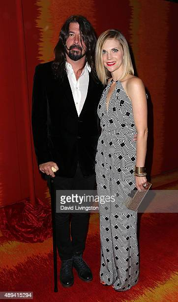 Musician Dave Grohl and wife Jordyn Blum attend HBO's Official 2015 Emmy After Party at The Plaza at the Pacific Design Center on September 20 2015...