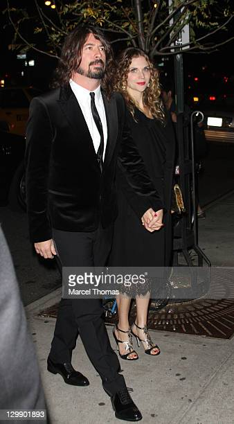 Musician Dave Grohl and wife Jordyn Blum attend Paul McCartney's Nancy Shevell's party at The Bowery Hotel on October 21 2011 in New York City