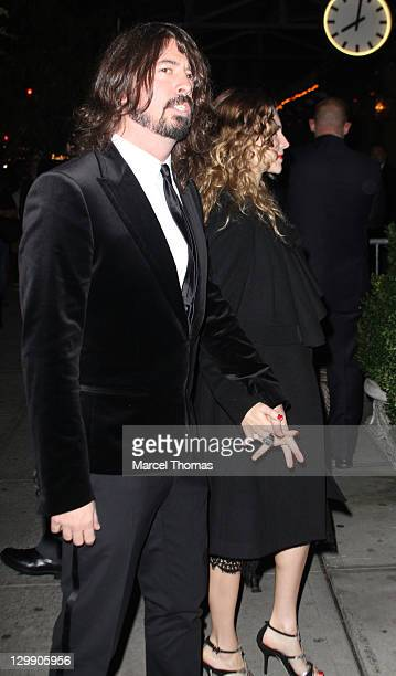 Musician Dave Grohl and wife Jordyn Blum attend the Paul McCartney Nancy Shevell party at The Bowery Hotel on October 21 2011 in New York City