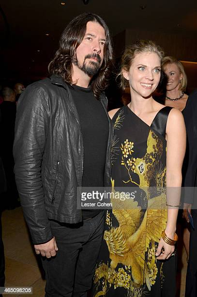 Musician Dave Grohl and wife Jordyn Blum Grohl attend the 56th annual GRAMMY Awards PreGRAMMY Gala and Salute to Industry Icons honoring Lucian...