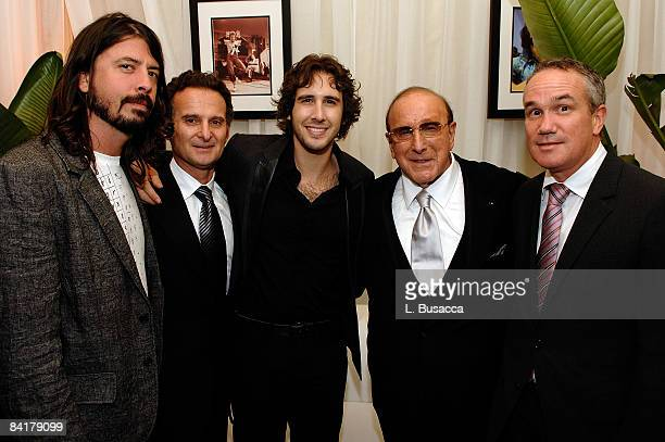 Musician Dave Grohl COO of BMG Label Group Charles Goldstuck singer Josh Groban President and CEO of BMG US Clive Davis and Barry Weiss President and...