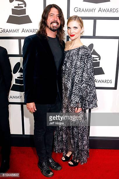 Musician Dave Grohl of Foo Fighters and Jordyn Blum attend The 58th GRAMMY Awards at Staples Center on February 15 2016 in Los Angeles California