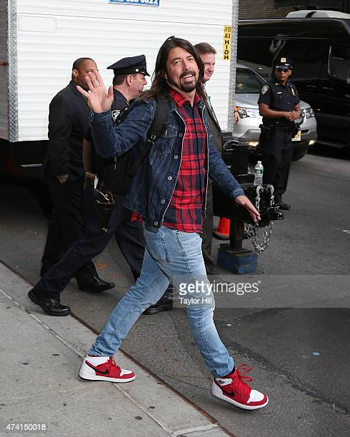 Musician Dave Grohl of Foo Fighters departs 'Late Show with David Letterman' at Ed Sullivan Theater on May 20 2015 in New York City