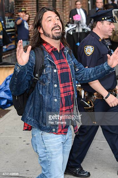 """Musician Dave Grohl, of Foo Fighters, leave the """"Late Show With David Letterman"""" taping at Ed Sullivan Theater on May 20, 2015 in New York City."""