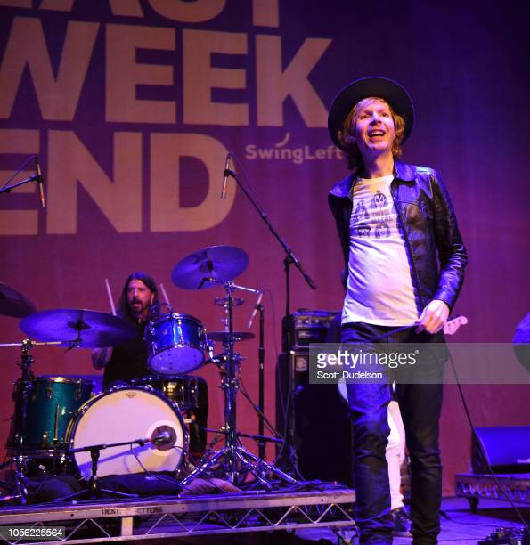 Musician Dave Grohl of Foo Fighters performs onstage as guest drummer with Beck during the Last Weekend Kickoff LA Presented by Swing Left at The...