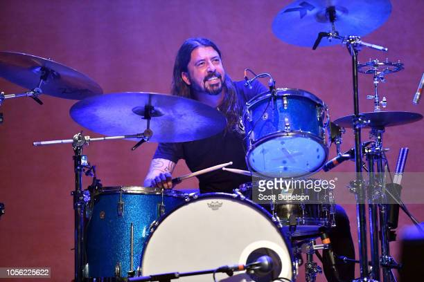 Musician Dave Grohl of Foo Fighters performs onstage as guest drummer during the Last Weekend Kickoff LA Presented by Swing Left at The Palace...
