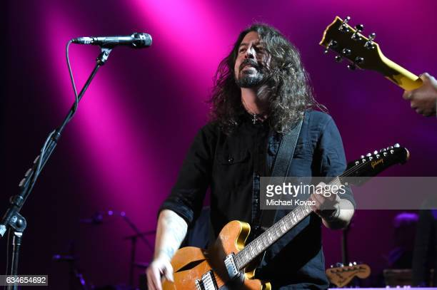 Musician Dave Grohl of Foo Fighters performs onstage during MusiCares Person of the Year honoring Tom Petty at the Los Angeles Convention Center on...