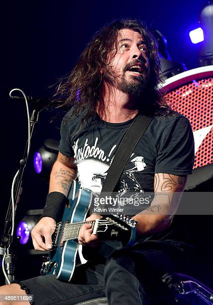 Musician Dave Grohl of the Foo Fighters performs at the Forum on September 21 2015 in Inglewood California