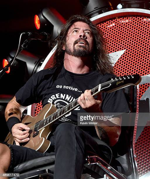Musician Dave Grohl of the Foo Fighters performs at the Forum on September 22 2015 in Inglewood California