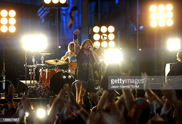 Musician Dave Grohl of the Foo Fighters performs onstage at the 54th Annual GRAMMY Awards held at Staples Center on February 12 2012 in Los Angeles...