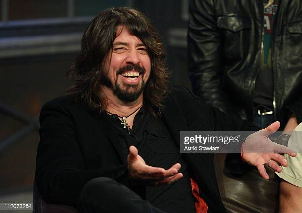 Musician Dave Grohl of the Foo Fighters tapes an episode of 'Hoppus On Music' at fuse Studios on April 12 2011 in New York City