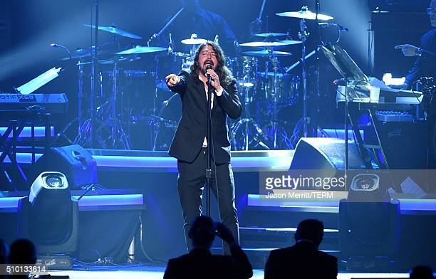 Musician Dave Grohl performs onstage at the 2016 MusiCares Person of the Year honoring Lionel Richie at the Los Angeles Convention Center on February...