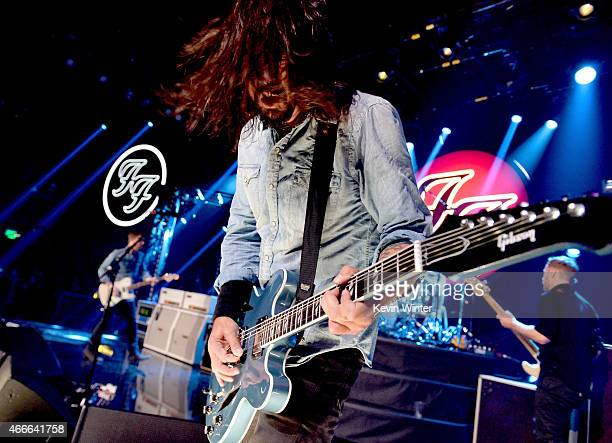 Musician Dave Grohl performs onstage during the Foo Fighters SONIC HIGHWAYS album celebration hosted by Chelsea Handler on the Honda Stage at the...