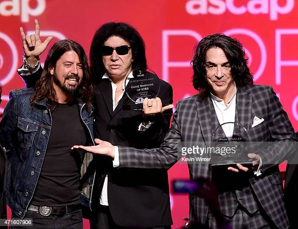 Musician Dave Grohl presents musicians Gene Simmons and Paul Stanley of KISS the ASCAP Founders Award at the 32nd Annual ASCAP Pop Music Awards at...