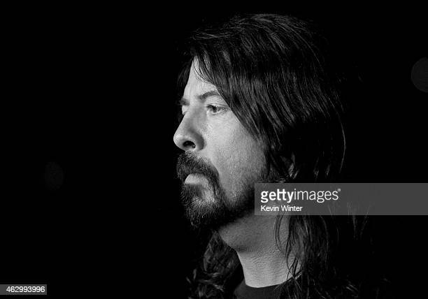 Musician Dave Grohl rehearses onstage during The 57th Annual GRAMMY Awards at the Staples Center on February 7 2015 in Los Angeles California