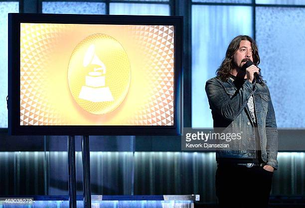 Musician Dave Grohl speaks onstage during The 57th Annual GRAMMY Awards at the at the STAPLES Center on February 8 2015 in Los Angeles California