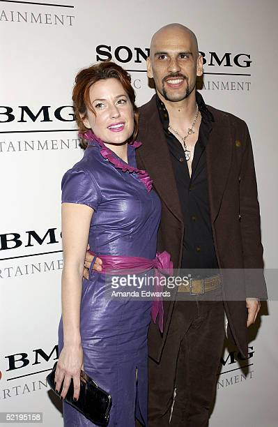 Musician Dave Kushner and his wife Christine arrive at the Sony BMG Music Entertainment Grammy Party on February 13 2005 at the Hollywood Roosevelt...