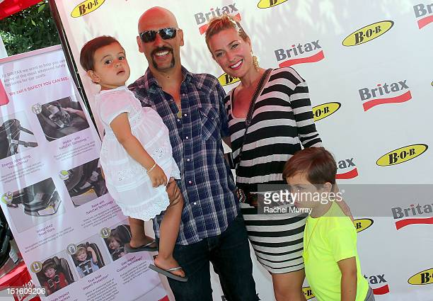 Musician Dave Kushner wife Christine Kushner and their children attend the Red CARpet event hosted by Britax and Ali Landry at SLS Hotel on September...