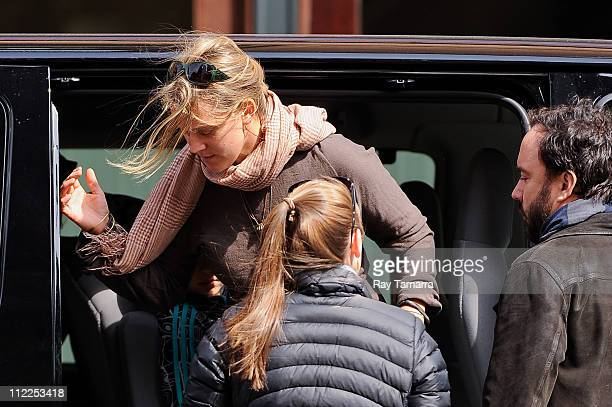 Musician Dave Matthews and Ashley Harper leave a Tribeca hotel on April 15 2011 in New York City