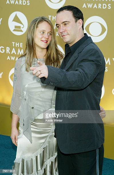 Musician Dave Matthews and wife Ashely arrive at the 46th Annual Grammy Awards held at the Staples Center on February 8 2004 in Los Angeles California