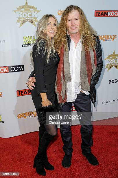 Musician Dave Mustaine and Pamela Anne Casselberry attend the Classic Rock And Roll Honour 2014 Award Ceremony at Avalon on November 4 2014 in...