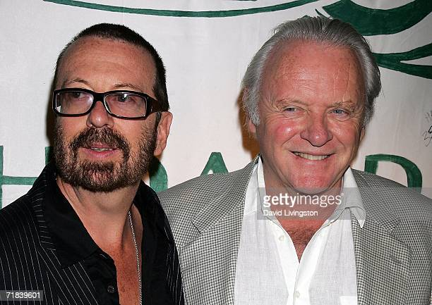 Musician Dave Stewart and actor Sir Anthony Hopkins attend the reception for a new song honoring the 35th anniversary of Greenpeace's founding at SIR...