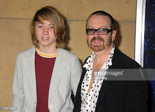 Musician Dave Stewart and his son arrives at the screening of 'Across The Universe' at the Egypitan Theatre on September 18 2007 in Hollywood...