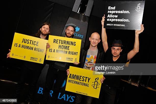 Musician Dave Welsh Ben Wysocki Isaac Slade and Joe King of The Fray attend the Amnesty International Concert presented by the CBGB Festival at...