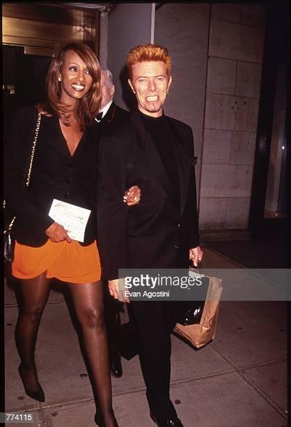 Musician David Bowie and his wife Iman attend a Children's Defense Fund fundraiser September 26 1996 in New York City The CDF's mission is to ensure...